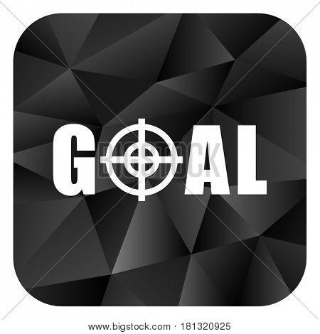 Goal black color web modern brillant design square internet icon on white background.
