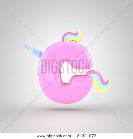 Cute Unicorn Pink Letter C Lowercase