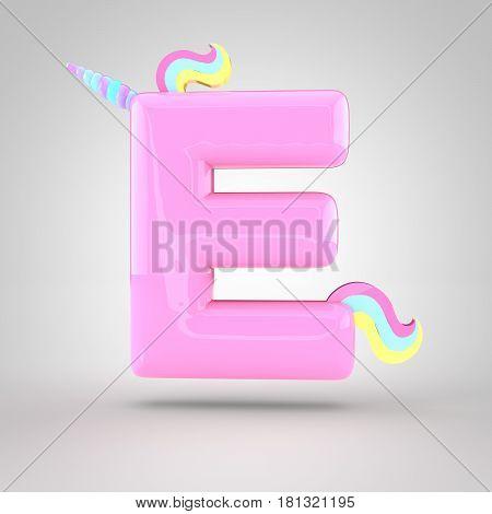 Cute Unicorn Pink Letter E Uppercase