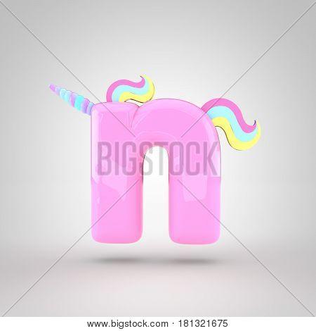 Cute Unicorn Pink Letter N Lowercase