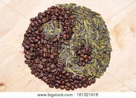 Coffee vs Green Tea in Ying yang sign