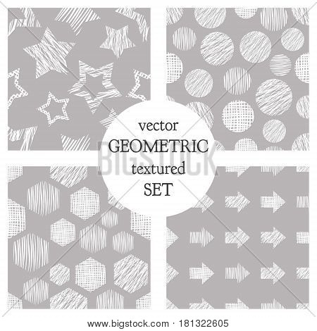 Set Of Seamless Vector Geometrical Patterns With Rectangles, Circle, Arrows, Stars. Grey Pastel Endl