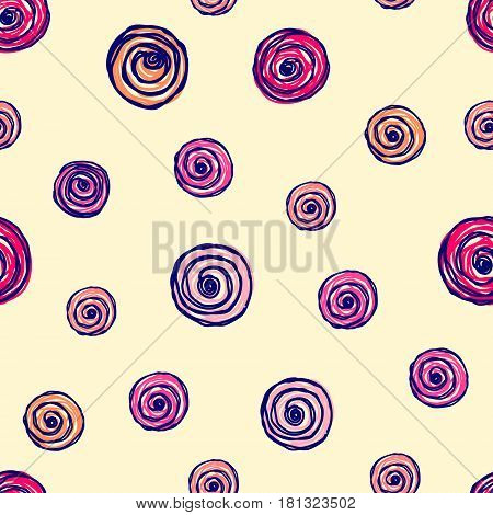 Vector Seamless Floral Pattern With Flowers, Hand Drawn Contour Lines And Strokes Doodle Sketch Styl