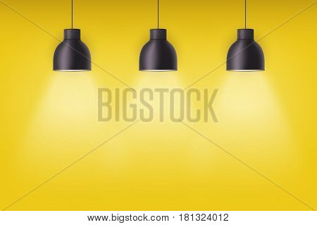 Vintage metal stylish cone lamps on yellow painting wall. Original Retro design. Hang ceiling model. Vector illustration Isolated on white background.