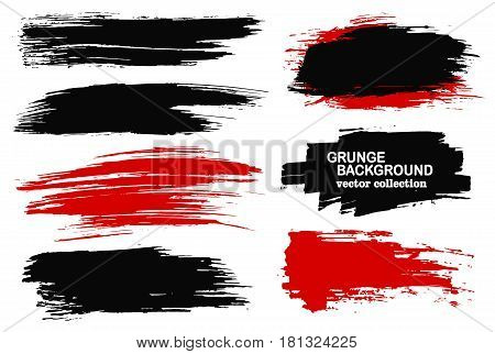 Large grunge elements set. Brush strokes, banners, borders, splashes, splatters. Vector illustration. Black and red collection