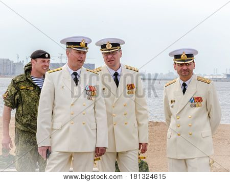 Saint-Petersburg, Russia - August 9,  2015: a group of officers of the Navy of Russia to a naval holidayб summer, 2015.