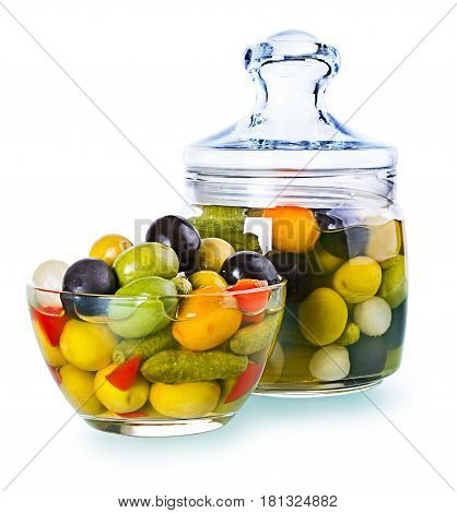 Assorted Olives In A Glass , Preserved Vegetables Composition
