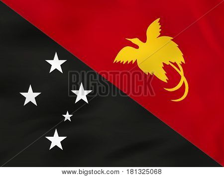 Papua New Guinea Waving Flag. Papua New Guinea National Flag Background Texture.