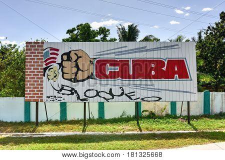 Cienfuegos, Cuba - Jan 13, 2017: Sign showing Cuba breaking the American Embargo in Cienfuegos Cuba.