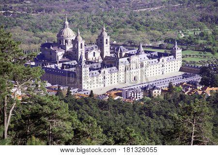 Monastery of San Lorenzo de El Escorial, seen from Mount Abantos. Madrid's community. Spain