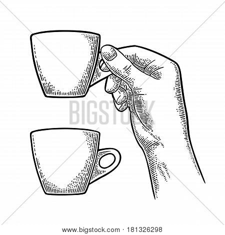 Hand holding a cup of coffee. Vintage black vector engraving illustration for label web flayer. Isolated on white background