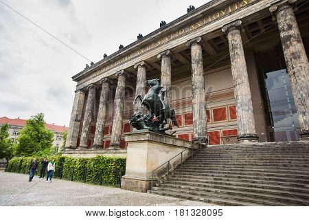 Travel to Germany. A walk along the center of Berlin. Art Museum in Berlin Museum Island. Old Museum