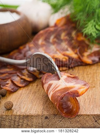Rough Simple Still Life With Bacon