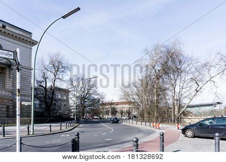 BERLIN, GERMANY- March 4,2017 : Typical Street view March 4,2017 in Berlin, Germany. Berlin is the capital of Germany. With a population of approximately 3.5 million people.BERLIN, GERMANY