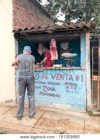 Trinidad, Cuba - Jan 11, 2017: Pork shop on the streets of Trinidad Cuba.