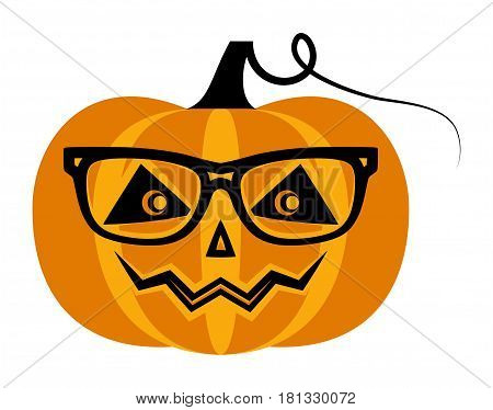 vector pumpkin with glasses isolated on white background