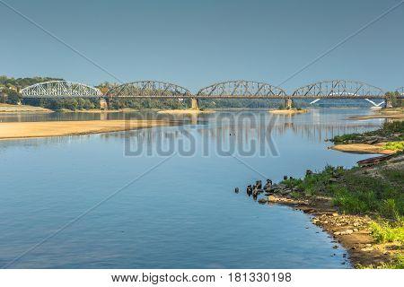 Poland - Torun famous truss bridge over Vistula river. Transportation infrastructure.