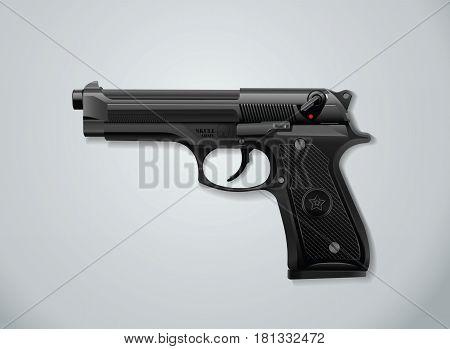 gun black color vector illustration realistic style