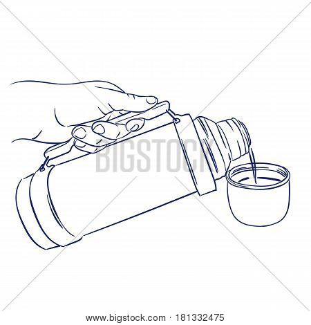 doodle hand drawn sketch pouring coffee from thermos