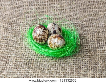 three quail egg rests on the filler sisal lime green color on a wooden table covered with burlap