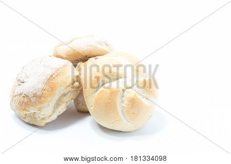 Mini Crusty Homemade Burger Star Bread Isolated In White Background