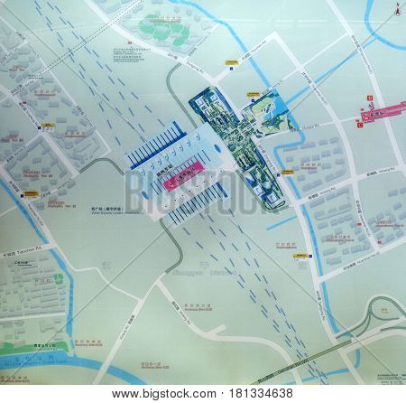 HANGZHOU - FEBRUARY 21:  Map of Hangzhou East Railway Station one of the largest railway hub in Asia, Hangzhou, China, February 21, 2016.