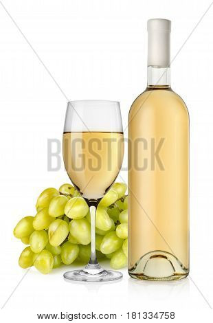 Bottle of white wine and grapes isolated on a white background