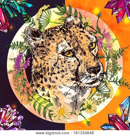 Vector hand-drawn sketch illustration  cheetah. Boho style. Drawing by hand. Good for print for t-shirt, card, invitations.