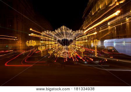 Nevsky prospect in the New Year's Eve in the evening light Saint-Petersburg Russia