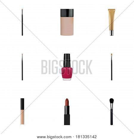 Realistic Contour Style Kit, Beauty Accessory, Brush And Other Vector Elements. Set Of Maquillage Realistic Symbols Also Includes Pomade, Lipstick, Skincare Objects.
