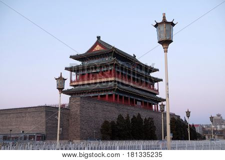 BEIJING - FEBRUARY 22, 2016: Archery Tower of Zhengyangmen is a gate in Beijing's historic city wall situated to the south of Tiananmen Square and once guarded the southern entry into the Inner City.