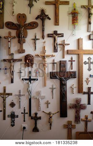 VUGROVEC, CROATIA - OCTOBER 02: Collection of crosses in the Rectory of Saint Francis Xavier in Vugrovec, Croatia on October 02, 2015.