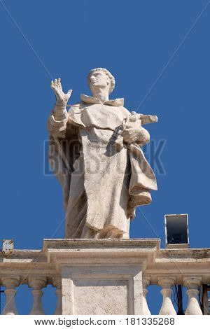 ROME, ITALY - SEPTEMBER 02:  St. Louis Bertran, fragment of colonnade of St. Peters Basilica. Papal Basilica of St. Peter in Vatican, Rome, Italy on September 02, 2016.