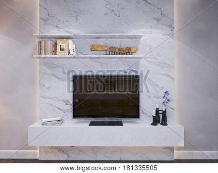 3d illustration of the interior design of the living room. The interior style of the apartment is modern in gray and white tones with accents of wood material. Wall decoration with tv system and LED lighting