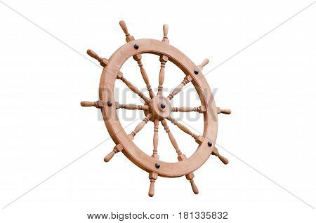 Steering wheel shipboard wooden on a white background