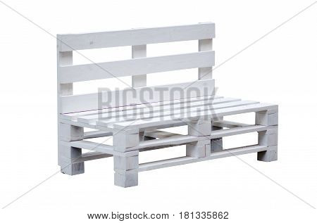Bench wooden white pallets on white background