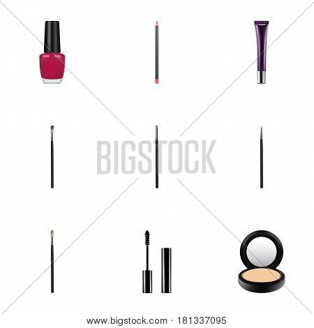 Realistic Day Creme, Eyelashes Ink, Cosmetic Stick And Other Vector Elements. Set Of Cosmetics Realistic Symbols Also Includes Pencil, Nail, Stick Objects.