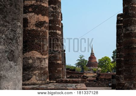 Ancient ruin in Thailand. The temple named Wat Mahathat part of Sukhothai historical park ancient kingdom in thirteenth centuries.
