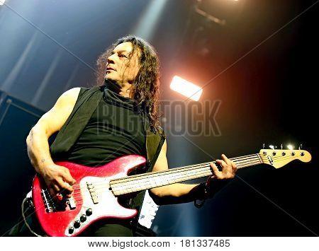 Padua Padova, Pd, Italy - March 29, 2017: Franco Li Causi Bass Player Of Litfiba An Italian Rock Ban