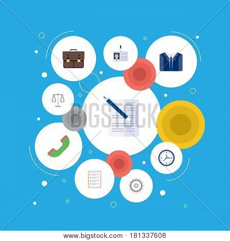 Flat Task List, Cogwheel, Costume And Other Vector Elements. Set Of Business Flat Symbols Also Includes Cogwheel, Telephone, Libra Objects.