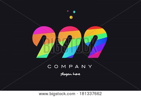 999 Colored Rainbow Creative Number Digit Numeral Logo Icon