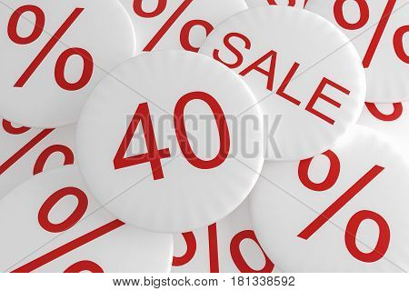 Shop Bargain Special Offer Badges: 40% Sale 3d illustration