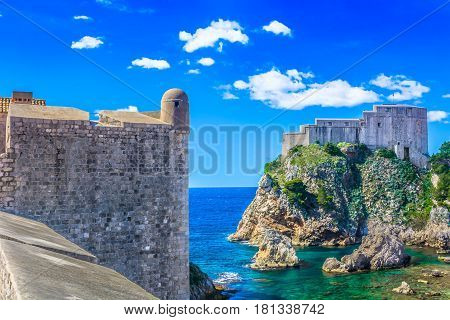 scenic view at Fort Lawrence in town Dubrovnik, Croatia Europe.