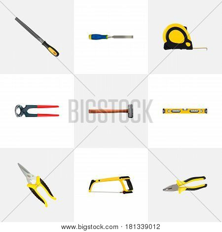 Realistic Length Roulette, Arm-Saw, Plumb Ruler And Other Vector Elements. Set Of Kit Realistic Symbols Also Includes Emery, Saw, Tongs Objects.