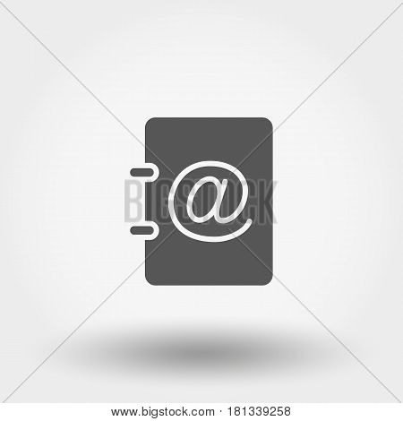 Address book. Icon for web and mobile application. Vector illustration on a white background. Flat design style.