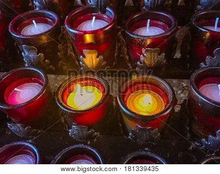 Candles in a church in Sedona, Arizona
