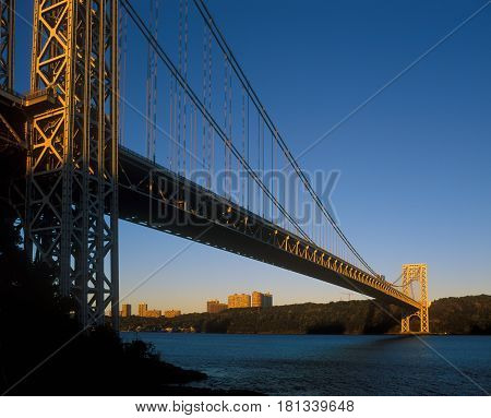 George Washington Bridge New York City at sunrise.