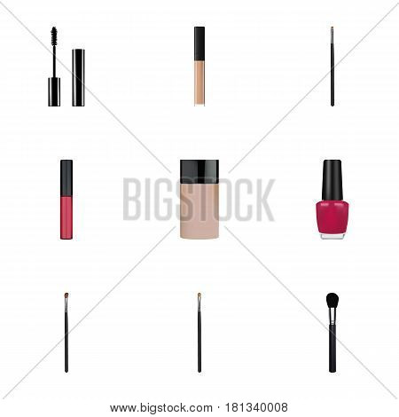 Realistic Contour Style Kit, Varnish, Beauty Accessory And Other Vector Elements. Set Of Cosmetics Realistic Symbols Also Includes Varnish, Contour, Pomade Objects.
