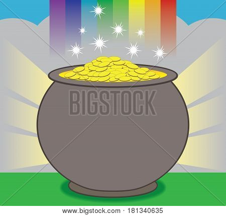 A glowing pot of gold is resting at the end of the rainbow