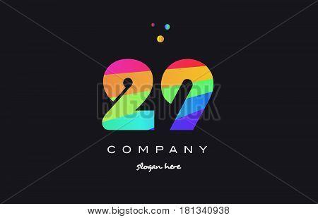 29 Twenty Nine Colored Rainbow Creative Number Digit Numeral Logo Icon